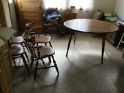 Vintage Ethan Allen Dining Room Set Table And 5 Chairs Maple 2 Leaves