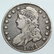 1834 Us United States Capped Liberty Bust Vintage Silver Half Dollar Coin I90043