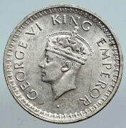 1944 India States Uk King George Vi Antique Silver 1/2 Rupee Indian Coin I90052