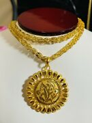 21k Saudi 875 Real Gold Fine 24andrdquo Mens Womenandrsquos Round Flower Necklace 5mm 22.32g