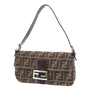 Fendi Zucca Mamma Bucket Used Hand Bag Brown Canvas Italy Authentic Ad163 S