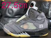 New Off White Air Jordan 5 Sneakers Mens 27.5cm Black Color With Change String