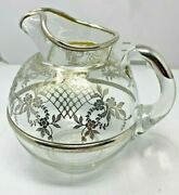 Vintage Sterling Silver Overlay Glass Pitcher 9 Tall X 7 Wide
