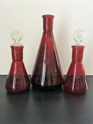 Early Vintage Pyrex Red Glass Erlenmeyer Flasks 500 Ml 125 Ml Low Actinic