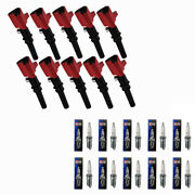 Dg508 High Voltage Ignition Coils + Champion Spark Plugs For Ford E150 F450 V10