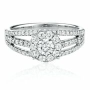 1 Ct Natural Diamond Round Cut Engagement Ring In 14k White Gold