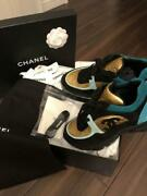 Used Shoes Sneakers Women 24cm Genuine Leather Suede Blue Gold Black