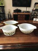 Vintage Pyrex Spring Crazy Daisy Pattern White And Green 2 Casseroles 1 Bowl
