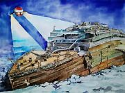 11.69 Andtimes 15.75 Wreck Of Rms Titanic Debris Research Watercolor Signed And Dated