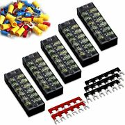 46pcs 5 Sets Terminal Block - 5pcs 6 Positions 600v 25a Dual Row Screw Strip