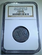 Ngc 1661 Piedmont Shipwreck Bolivia Silver 2 Reales 1600and039s Spanish Cob Coin