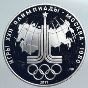 1977 Moscow 1980 Russia Olympics Rings Globe Proof Silver 10 Rouble Coin I90159