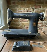 1922 Singer Aluminum 101 Sewing Machine W/ Foot Pedal For Parts Or Restoration