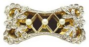 2 Antique French Victorian Platinum And 18k Gold Pearl And Diamond Accented Bow Pins