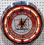 17 Mobil Mobilgas The Sign Of Friendly Service Pegasus Sign Neon Clock