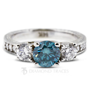 1.31ct Blue Si1 Round Natural Certified Diamonds Plat Classic Three Stone Ring