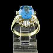 Estate 6 Ct Oval Cut Blue Topaz With Diamond 14k Solid Yellow Gold Ring 7.30gm