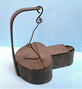 Antique Primitive Hand Forged Iron Whale Oil Betty Grease Lamp 1800s Era