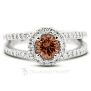 1 1/2ct Red Si1 Round Earth Mined Certified Diamonds 14k Gold Halo Accent Ring