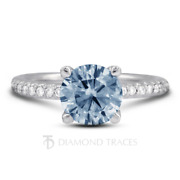 1 1/2ct Blue Si2 Round Natural Certified Diamonds 14k Classic Engagement Ring