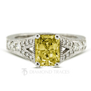 1 1/2ct Yellow Si2 Radiant Natural Diamonds 18k Vintage Style Side Stone Ring