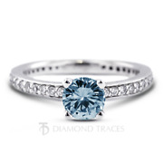 1.10ct Blue Si1 Round Natural Certified Diamonds 18k Gold Classic Accent Ring