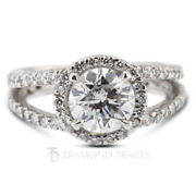 1 1/2ct H I1 Round Cut Natural Certified Diamonds 950 Plat. Halo Side Stone Ring