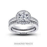 0.87ct G-si1 Round Natural Certified Diamonds Plat Halo Ring With Wedding Band