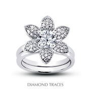 0.81ct G-vs2 Round Natural Certified Diamonds Plat Halo Ring With Wedding Band