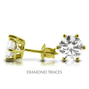 1 Ctw D Si2 Round Cut Earth Mined Certified Diamonds 14k Gold Classic Earrings
