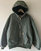 Vtg Mens J130 Moss Quilted Flannel Lined Duck Canvas Hooded Jacket Xl