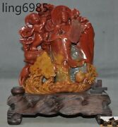 A Rare China Natural Shoushan Stone Hand-carved Bird Lotus Songzi Guanyin Statue