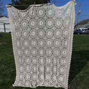Handmade Cotton Bedspread Coverlet Lace Crochet Embroidered Bed Cover Vintage