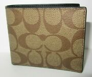 Coach F66551 Menand039s Wallet Id Bill Signature Tan Canvas Coated/ Leather Nwt 150