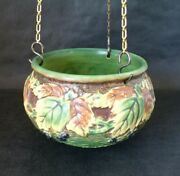 Vintage Roseville Pottery Green And Brown Blackberry Hanging Basket W/ Chain 348-5