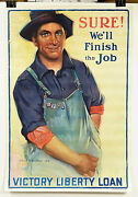 Original 1919 Us Wwi Postersure Weand039ll Finish The Job Victory Liberty Loan