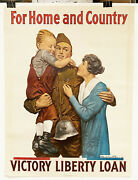 Original 1919 Us Wwi Posterfor Home And Country Large Victory Liberty Loan