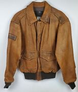 New Branded Garments Distressed Antiqued Brown Leather Jacket Made In Usa Sz Xl