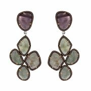 57.56 Ct Slice Sapphire And Brown Diamond 18k Gold And Sterling Dangle Earrings