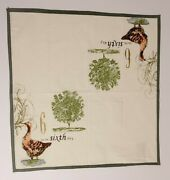 Williams Sonoma 12 Days Of Christmas Cloth Cotton Napkins 20x20 - 6th Day Only