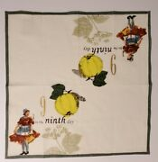 Williams Sonoma 12 Days Of Christmas Cloth Cotton Napkins 20x20 - 9th Day Only