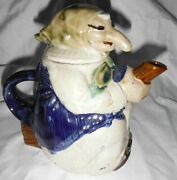 Art Pottery Teapot Kitchen Witch Riding Broom Good Luck Vintage 80's
