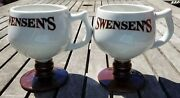 Vintage Set Of Two 2 Swensenandrsquos Ice Cream Parlor Footed / Pedestal Mugs / Cups