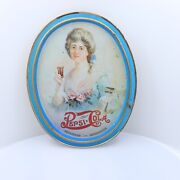 Vintage 1970s Drink Pepsi Cola Small Oval 5 Metal Tin Advertising Tray