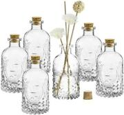 Embossed Fleur De Lis Glass Bottles With Cork Lid,apothecary Clear Flower Vases