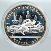 1978 Moscow 1980 Russia Olympics Vintage Running Proof Silver 5ruble Coin I90286