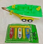 Vintage Gay Toys Boat And Trailer, New Pier 3 Boat Set Dime Store Toys, Hong Kon