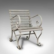 Antique Garden Seat, English, Wrought Iron, Slatted, Outdoor Chair, Victorian