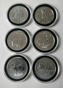 Canada Silver Wildlife Series 2011- 2013 / 6 - 1 Oz Silver Rounds In Capsule