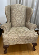 Ethan Allen Wingback Arm Chair Queen Anne Brown Paisley Cash And Pickup Only